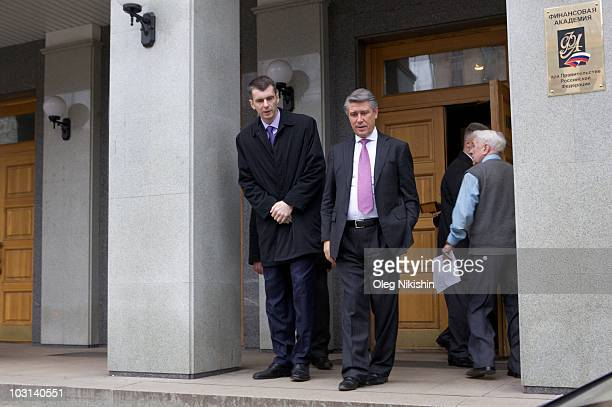 Russian businessman Mikhail Prokhorov visits the finance academy that he studied at on December 3 2009 in Moscow Russia