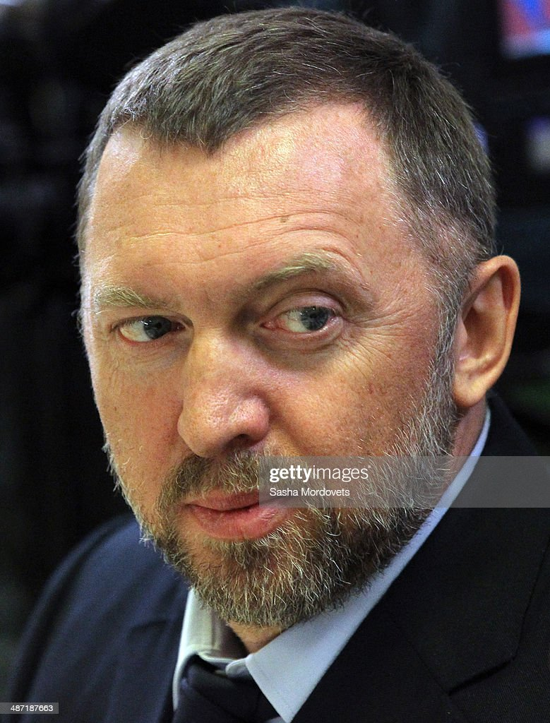 Russian businessman Oleg Deripaska attends a meeting with Russian President Vladimir Putin at Kalevala woodworking plant on April 28 2014 in...