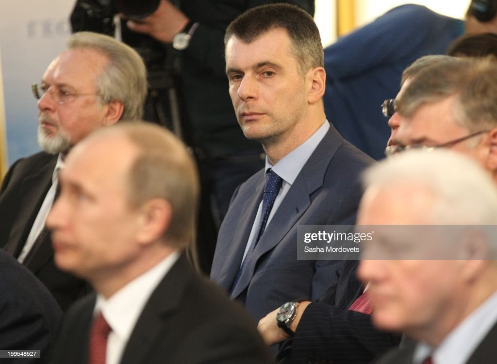 Russian businessman, politician and billionaire <a gi-track='captionPersonalityLinkClicked' href=/galleries/search?phrase=Mikhail+Prokhorov&family=editorial&specificpeople=4102603 ng-click='$event.stopPropagation()'>Mikhail Prokhorov</a> attends attends the openings of the Russia Geographical Society new headquarters on January 15, 2013 in Moscow, Russia. President Vladimir Putin also took part in the ceremony on Tuesday.