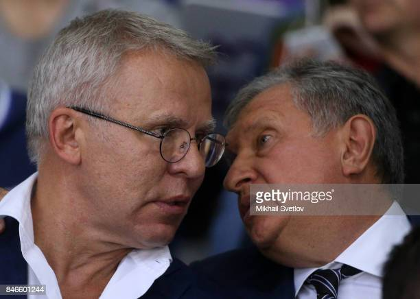 Russian businessman Rosneft's President Igor Sechin talks to former NHL player Vyacheslav Fetisov also known as Slava Fetisov while visiting a...