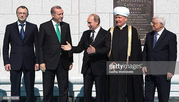 Russian businessman Suleiman Kerimov Turkish President Tayyip Erdogan Russian President Vladimir PutinRussian Grand Mufti Ravil Gainutdin and...