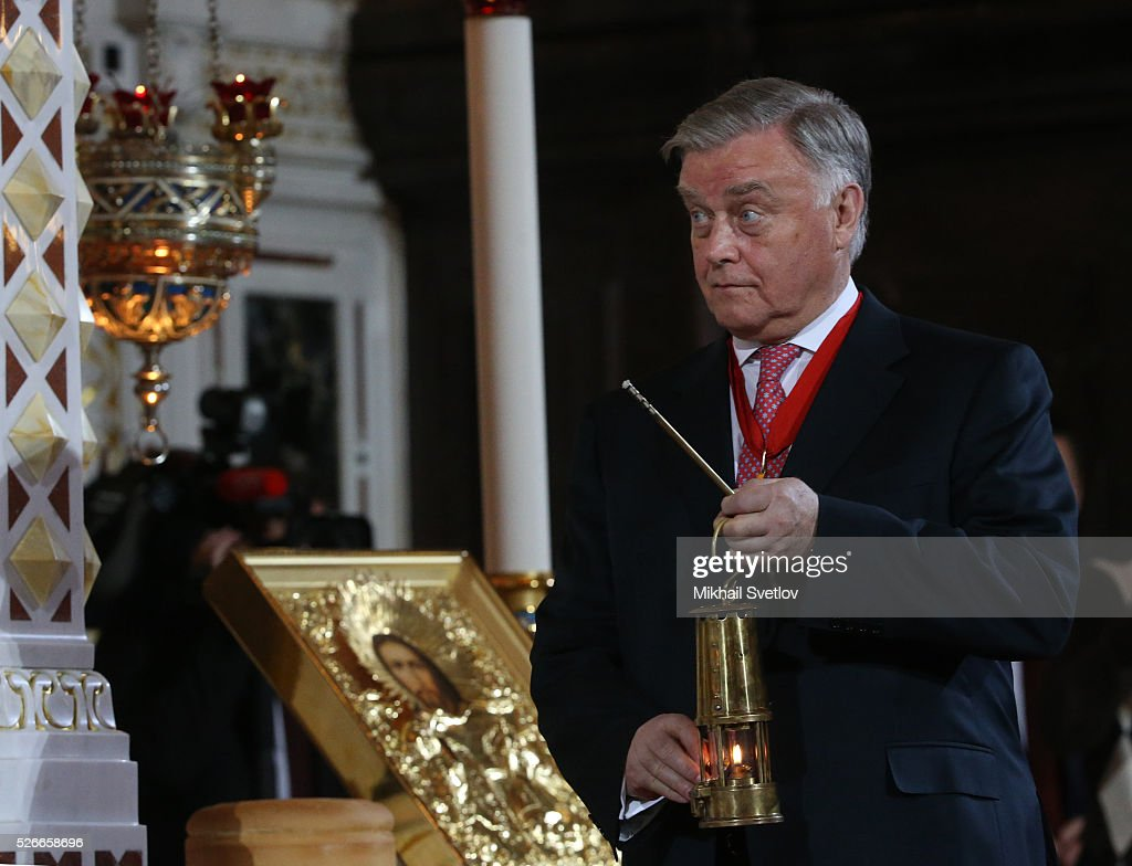 Russian businessman Vladimir Yakunin holds a candle during the Orthodox Easter mass at the Christ The Saviour Catherdal, in Moscow, Russia, May,1, 2016. Russian President Vladimir Putin, Moscow Mayor Sergei Sobyanin, Prime Minister Dmitry Medvedev and his wife Svetlana took part an Orthodox Easter service held by Patriarch Kirill at the biggest Russian Orthodox Cathedral.