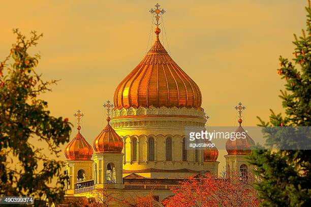 Russian Cathedral of Christ the Savior, bright sunset, Moscow