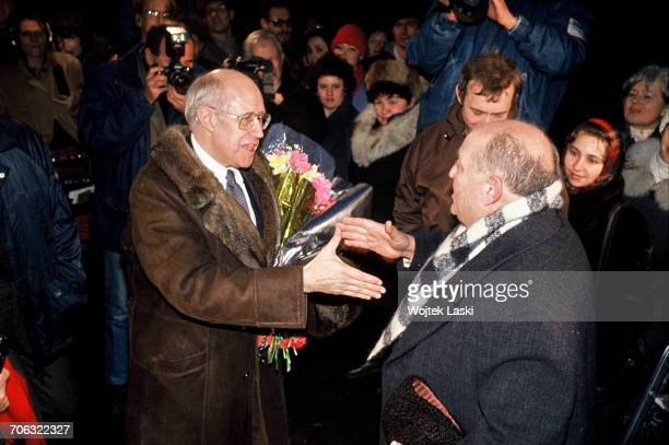 Russian cellist and conductor Mstislav Rostropovich arrives in Moscow to begin his first visit to his homeland since 1974 when he was forced into...