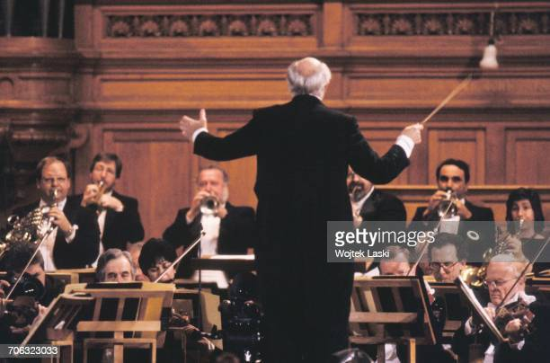 Russian cellist and conductor Mstislav Rostropovich conducting an orchestra in Moscow Russia on March 13th 1990