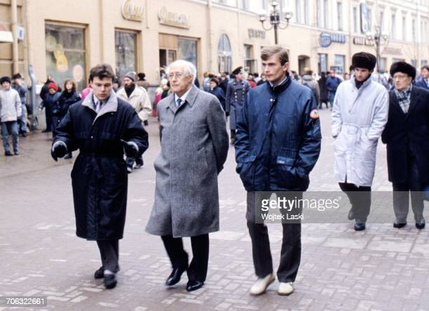 Russian cellist and conductor Mstislav Rostropovich during his first visit to his homeland since 1974 when he was forced into exile Moscow Russia on...