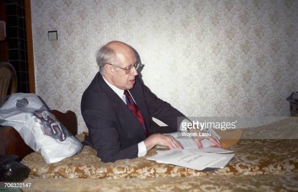 Russian cellist and conductor Mstislav Rostropovich in Moscow Russia in 1990