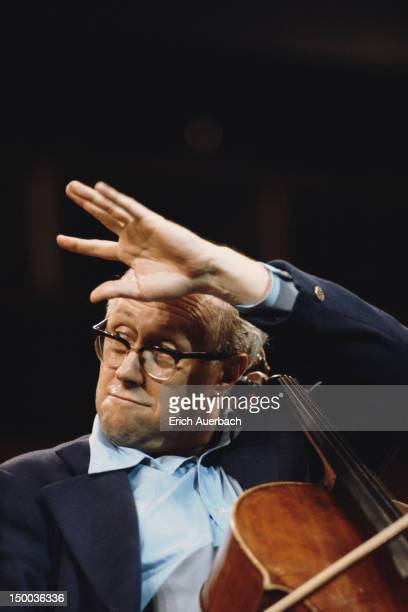Russian cellist and conductor Mstislav Rostropovich performing 1968