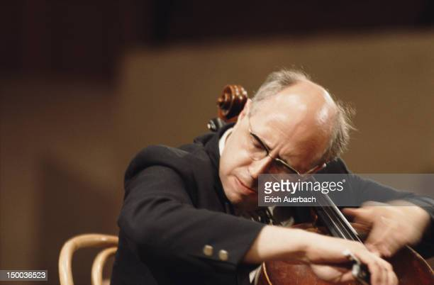 Russian cellist and conductor Mstislav Rostropovich performing circa 1970