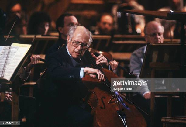 Russian cellist and conductor Mstislav Rostropovich performing in Moscow Russia on March 13th 1990