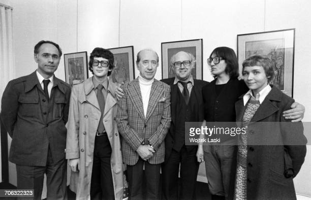 Russian cellist and conductor Mstislav Rostropovich Russian painter Mikhail Chemiakin at a Russian art exhibition in Paris France on 11th March 1977