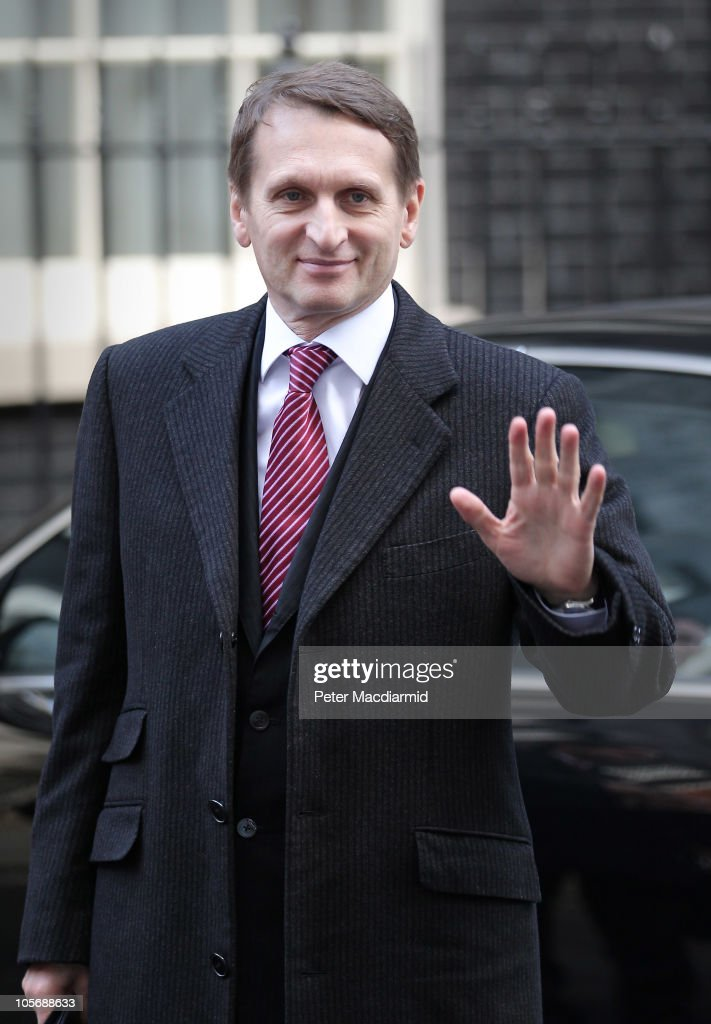 Russian Chief of Presidential Staff <a gi-track='captionPersonalityLinkClicked' href=/galleries/search?phrase=Sergei+Naryshkin&family=editorial&specificpeople=2665931 ng-click='$event.stopPropagation()'>Sergei Naryshkin</a> arrives in Downing Street on October 19, 2010 in London, England.