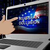 Russian Collusion During Election Campaign Laptop Means Corrupt Politics In America 3d Illustration. Conspiracy In A Democracy Allows Blackmail Or Fraud