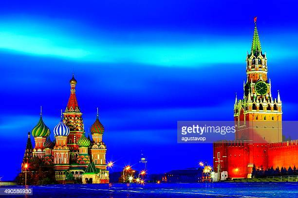 Russian colorful illuminated Red Square, Moscow, dramatic blue evening