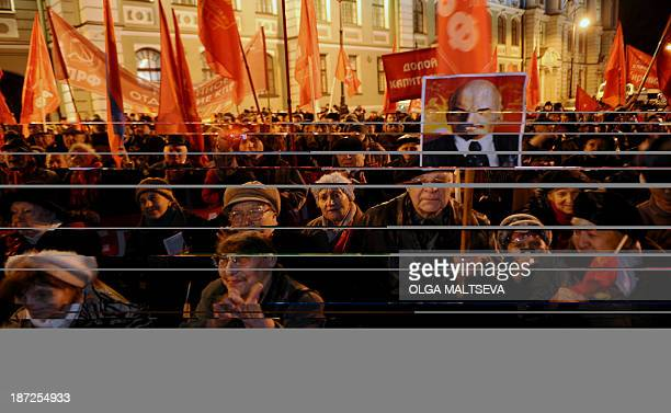 Russian communist party activists and supporters rally to mark the 96th anniversary of the 1917 Russia's Bolshevik Revolution in central...