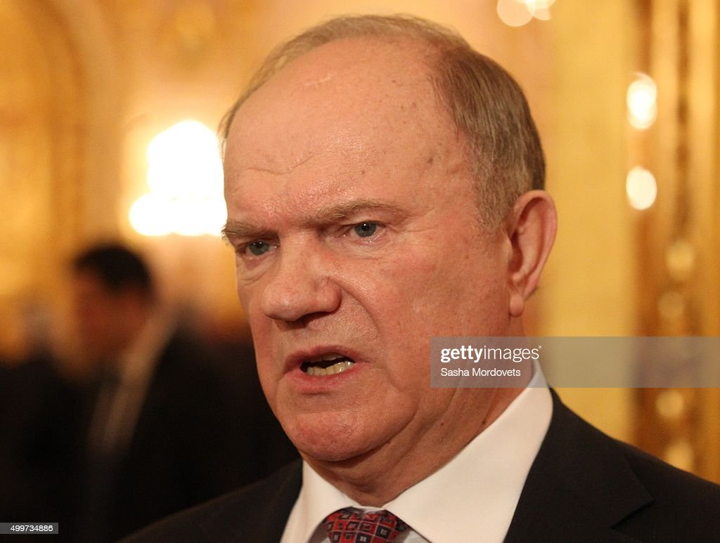 Russian Communist Party Leader <a gi-track='captionPersonalityLinkClicked' href=/galleries/search?phrase=Gennady+Zyuganov&family=editorial&specificpeople=213936 ng-click='$event.stopPropagation()'>Gennady Zyuganov</a> is seen prior to Russian President Vladimir Putin's Federal Assembly annual speech in Grand Kremlin Palace on December 3, 2015 in Moscow, Russia.