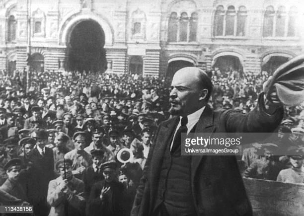 Russian communist revolutionary leader Vladimir Lenin giving a speech to Vsevobuch servicemen on the first anniversary of the foundation of the...