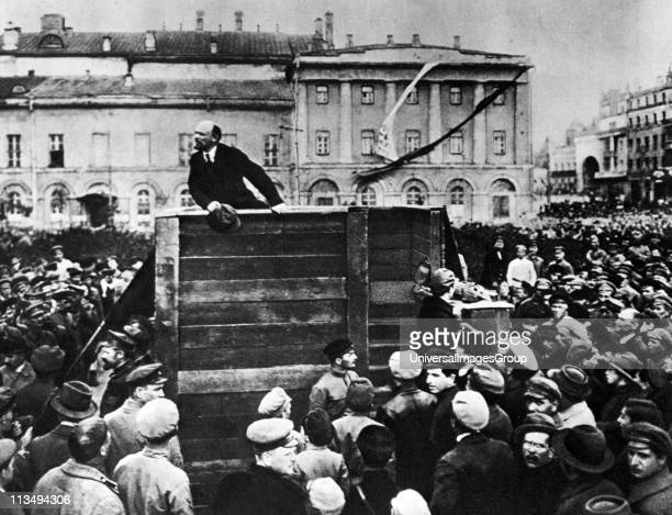 Lenin in Red Square Vladimir Ilyich Lenin Russian revolutionary and communist politician who led the October Revolution of 1917 Also headed the...