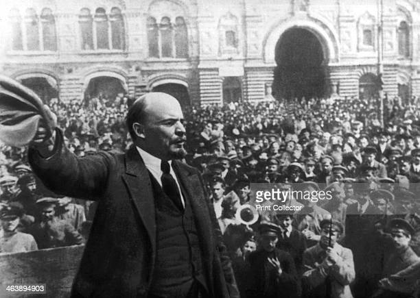 Lenin addressing a crowd in Red Square Moscow Russian Revolution October 1917 On 26 October 1917 the day after the storming of the Winter Palace in...