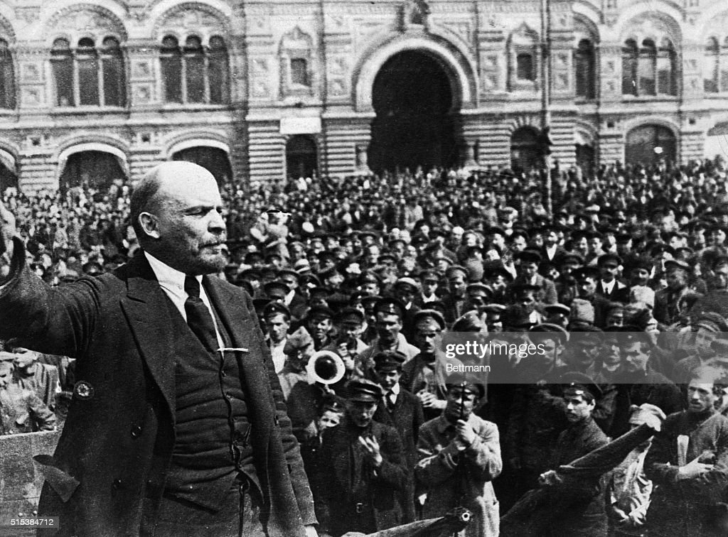 Vladimir Ilich Ulyanov (Lenin) (1870-1924) Russian Communist leader. This photo, brought from Russia by Dr. W.A. Wovschin, shows a view of a mass meeting in a public square of Moscow, when the Soviet leader made a stirring appeal for the men to keep together for the glory and safety of Russia.