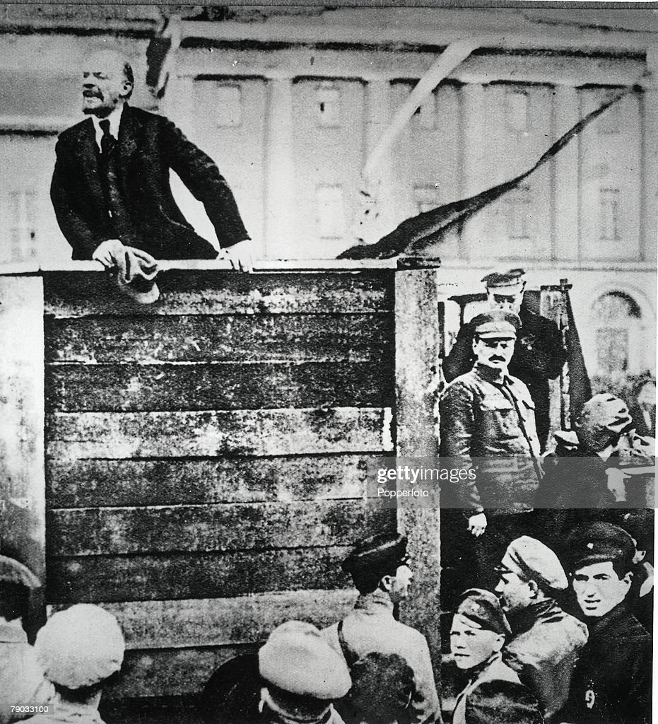 Lenin addressing a meeting in Moscow, Russia, The figure on the far right, in semi-uniform, is Trotsky
