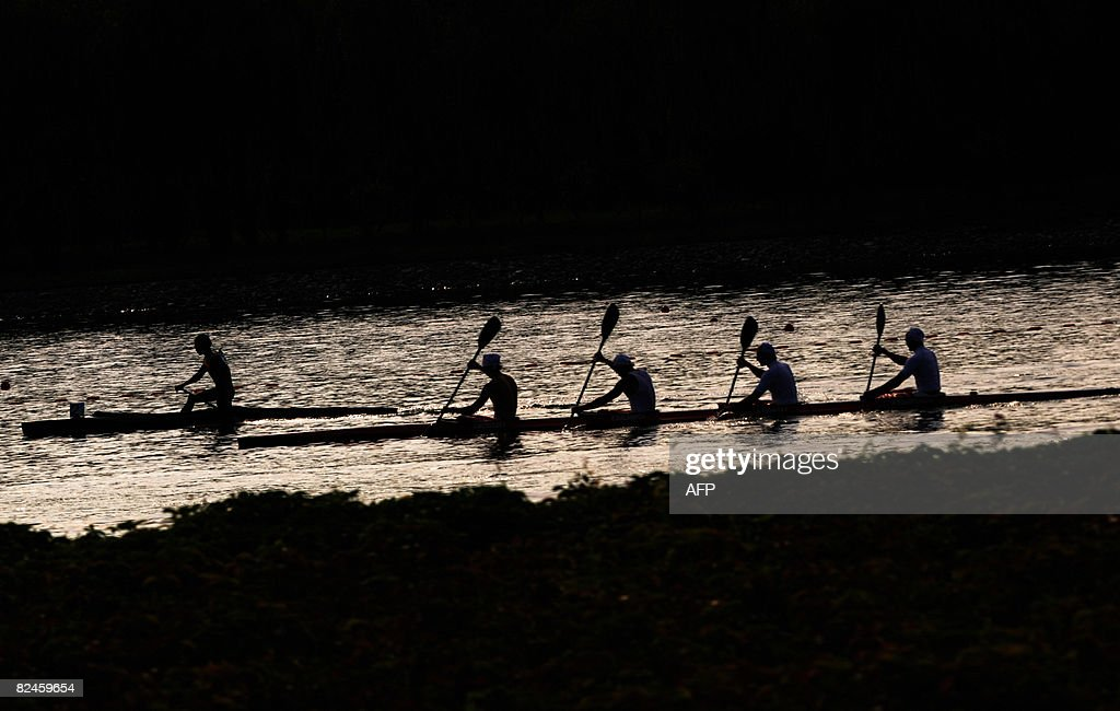 Russian competitors practice during the Canoe, Kayak flatwater race at Beijing 2008 Olympic Games in Beijing on August 19, 2008