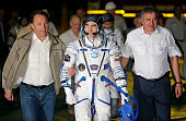 Russian cosmonaut Anatoly Ivanishin member of the main crew of the mission to the International Space Station walks to the rocket prior the launch at...