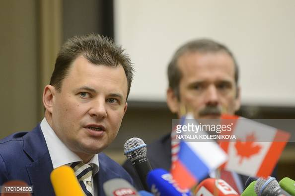 Russian cosmonaut Roman Romanenko and Canadian astronaut Chris Hadfield attend a press conference in Star City outside Moscow on June 7 2013...