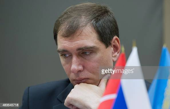 Russian cosmonaut Sergei Volkov member of the main crew of the 45/46 expedition to the International Space Station ISS attends a press conference in...
