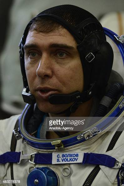 Russian cosmonaut Sergei Volkov seen during Members of the main preparation crew of the 45/46 expedition to the International Space Station ISS pose...