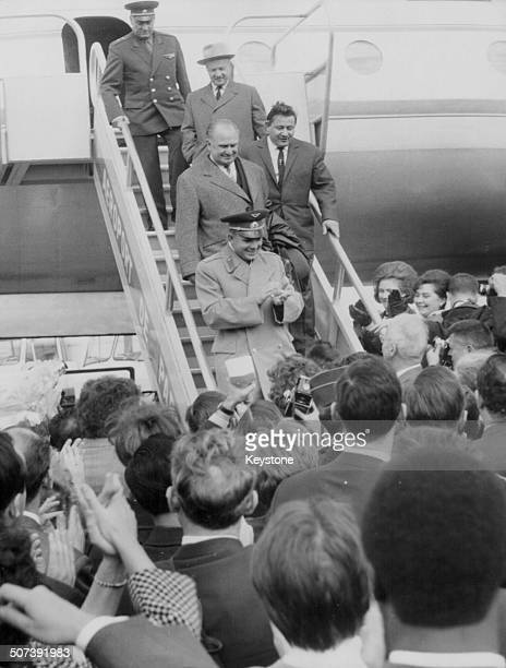 Russian cosmonaut Yuri Gagarin leaving an airplane as he arrives at Le Bourget Airport Paris September 28th 1963
