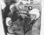 Russian cosmonauts Georgi Dobrovolski Vladislav Volkov and Viktor Patsayev of the Soyuz 11 space mission June 1971 All three men died during their...