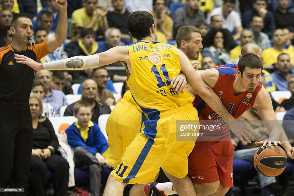 Russian CSKA Moscow French guard Nando De Colo vies for the ball against Israel Maccabi Electra Tel Aviv's Israeli center Jake Cohen during their...