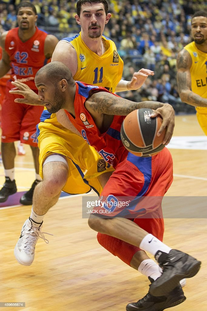 Russian CSKA Moscow's US guard Aaron Jackson vies for the ball against Israel Maccabi Electra Tel Aviv's Israeli centre Jake Cohen during their...