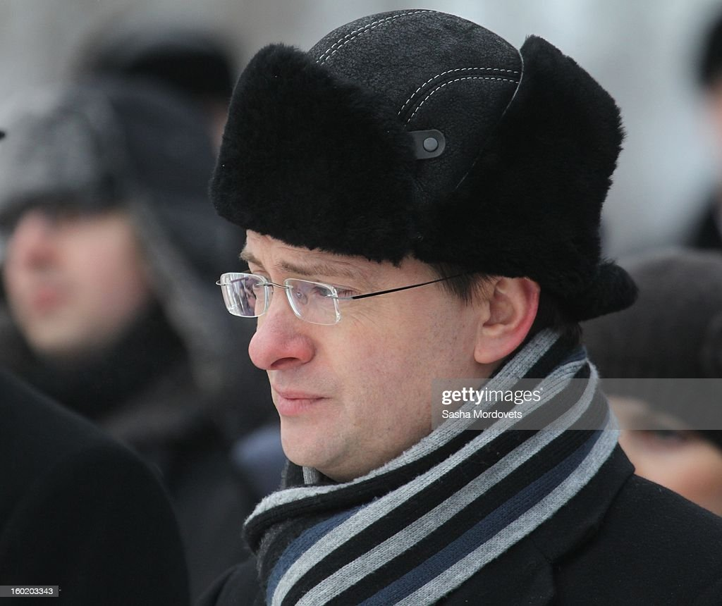 Russian Culture Minister Vladimir Medinskiy attends a ceremony celebrating the 68th anniversary of the liberation of the Auschwitz Birkenau concentration camp January 27, 2013 near Oswiecim, Poland. Russian parliament (State Duma) speaker Sergey Naryshkin had also visited Auschwitz during International Holocaust Remembrance Day.