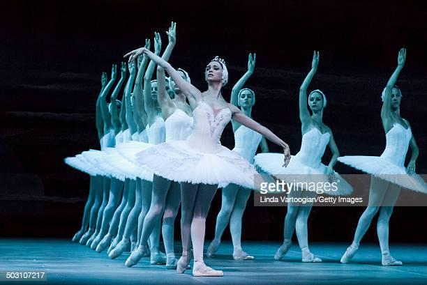 Russian dancer Anna Nikulina and others during Act I in the Bolshoi Ballet production of 'Swan Lake' during the Lincoln Center Festival at the...