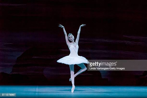 Russian dancer Anna Nikulina performs during Act I in the Bolshoi Ballet production of 'Swan Lake' during the Lincoln Center Festival at the David H...