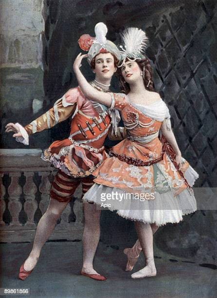Russian dancers Vaslav Nijinsky and Anna Pavlova from St Petersburg photo from french paper 'Le Theatre' may 1st 1909
