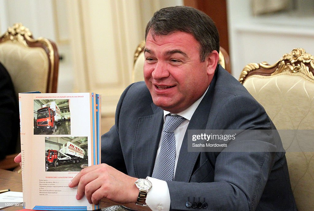 Russian Defence Minister <a gi-track='captionPersonalityLinkClicked' href=/galleries/search?phrase=Anatoly+Serdyukov&family=editorial&specificpeople=4162784 ng-click='$event.stopPropagation()'>Anatoly Serdyukov</a> speeches during a weekly meeting of ministers in the government office on August, 9, 2010 in Moscow, Russia. The talks focused on the low grain harvest, due to Russia suffering through the worst heat wave in 130 years, reports Russian news agencies.
