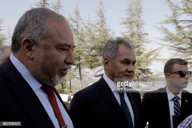 Russian Defence Minister Sergei Shoigu and his Israeli counterpart Avigdor Lieberman are seen on October 17 2017 during a visit to the Yad Vashem...