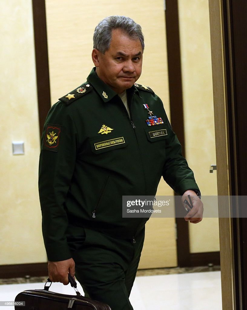 Russian Defence Minister Sergei Shoigu arrives at a meeting between Russian President Vladimir Putin and military commanders and other officials of Russian Defence Ministry in Bocharov Ruchey State Residence on November 12, 2015 in Sochi, Russia. Presidential press secretary Dmitry Peskov has reported that Russian President Vladimir Putin so far does not plan to visit the Russian military contingent in Syria.
