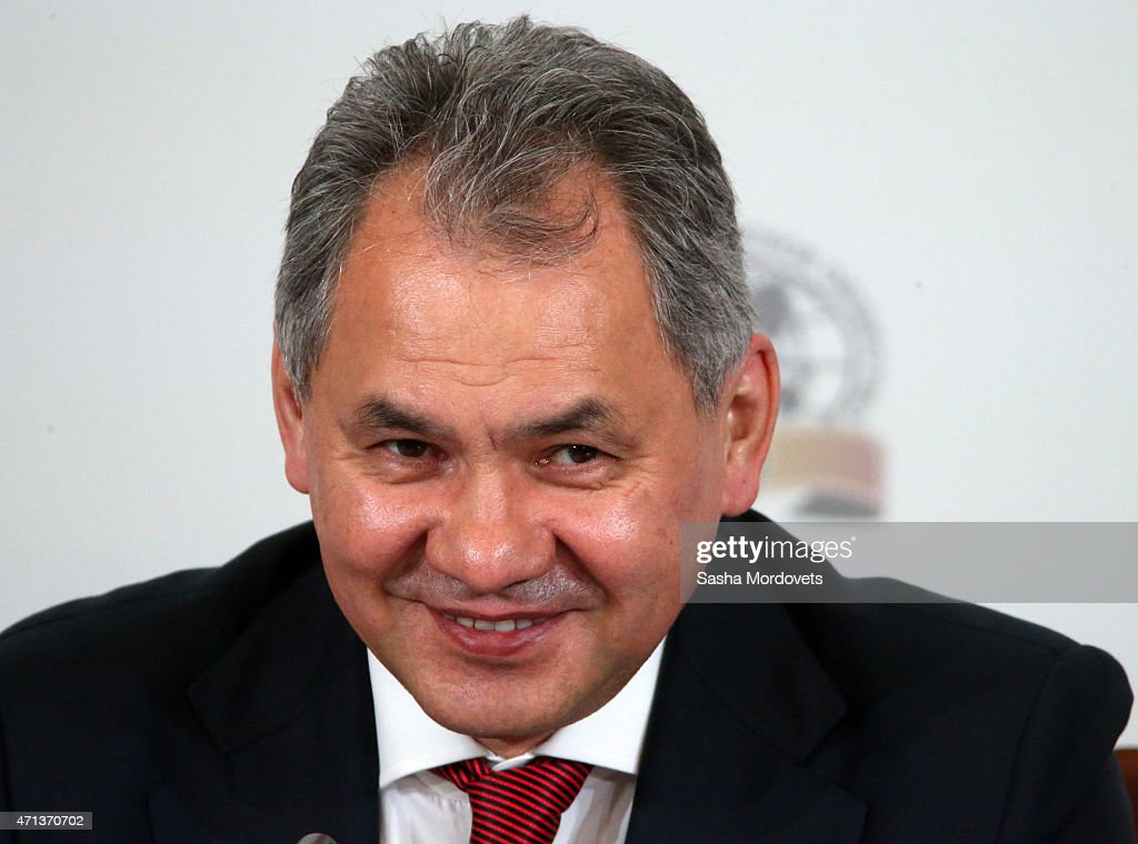 Russian Defence Minister Sergei Shoigu attends a meeting of the Russian Geographical Society's Board of Trustees April 27, 2015 in St. Petersburg,Russia. Russian President Vladimir Putin, in an interview broadcast Sunday to mark 15 years in power, said he has no regrets over Moscow's 2014 annexation of Crimea as it overturned 'a historical injustice.'