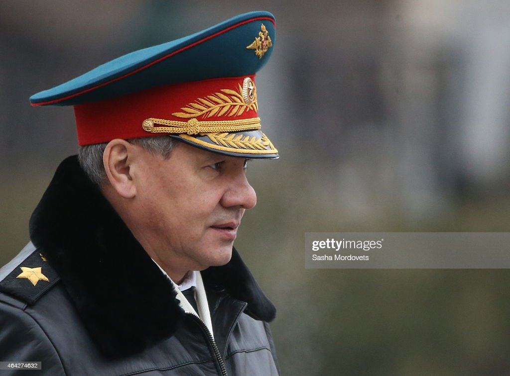 Russian Defence Minister Sergei Shoigu attends a wreath laying ceremony at the tomb of the unknown soldier to mark the Defender of the Fatheland Day on February 23, 2015 in central Moscow, Russia. Originally known as 'Red Army Day' and later observed as 'Soviet Army and Navy Day', it was decreed a state holiday in 2002 after being renamed 'Defender of the Motherland Day'. The holiday marks the foundation of Red Army in 1918 and focuses on achievements of military forces and veterans.