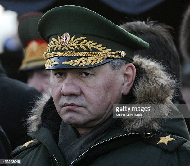 Russian Defence Minister Sergey Shoigu attends the funeral ceremony for Mikhail Kalashnikov at the Federal Military Memorial Cemetery December 27...
