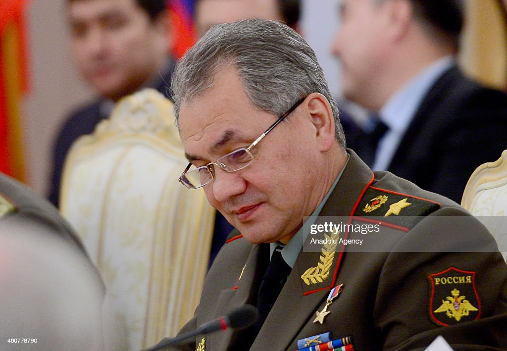 Russian Defence Minister <a gi-track='captionPersonalityLinkClicked' href=/galleries/search?phrase=Sergey+Shoygu&family=editorial&specificpeople=2571986 ng-click='$event.stopPropagation()'>Sergey Shoygu</a> attends the ministerial meeting of the Collective Security Treaty Organization (CSTO) in Moscow, Russia on December 22, 2014. Foreign and Defence ministers and secretaries of Security Councils from the countries of the CSTO, consisting of Armenia, Belarus, Kazakhstan, Kyrgyzstan, Russia and Tajikistan, meet in Moscow on Monday.