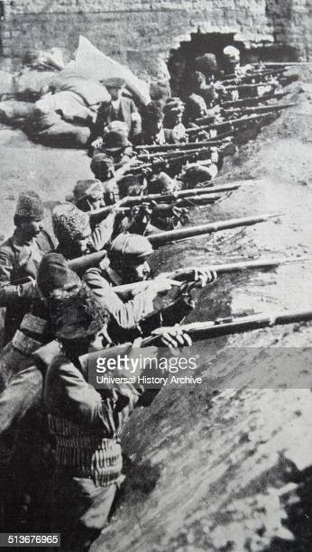 Russian defenders of Van in Turkey under the command of a Russian officer in 1915 during world war one