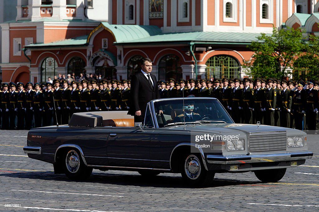 Russian Defense Minister Anatoly Serdyukov looks on while being drived during the nation's Victory Day parade in commemoration of the end of WWII held at the Red Square on May 9, 2009 in Moscow, Russia. The ceremony commemorates Victory Day of May 9, 1945 on which the World War II Allies' achieved victory over and unconditional surrender of Nazi Germany's armed forces.