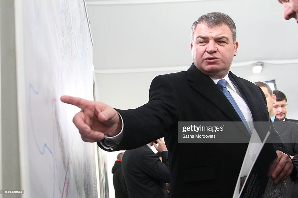 Russian Defense Minister <a gi-track='captionPersonalityLinkClicked' href=/galleries/search?phrase=Anatoly+Serdyukov&family=editorial&specificpeople=4162784 ng-click='$event.stopPropagation()'>Anatoly Serdyukov</a> views apartment buildings constructed for Russian servicemen On January 12, 2011 in Podolsk, Russia. Medvedev has highlighted that housing for servicemen is a key task for the Ministry of Defence.