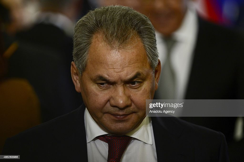 Russian Defense Minister <a gi-track='captionPersonalityLinkClicked' href=/galleries/search?phrase=Sergey+Shoygu&family=editorial&specificpeople=2571986 ng-click='$event.stopPropagation()'>Sergey Shoygu</a> is seen at a press conference given by Egypt's President Abdel Fattah el-Sisi and Russia's President Vladimir Putin at the Kremlin in Moscow, Russia, on August 26.2015.