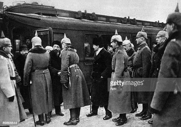 Russian delegates saluted by german officers in BrestLitovsk december 22 1917 Leon Trotski Kameneff and Adolf Joffe
